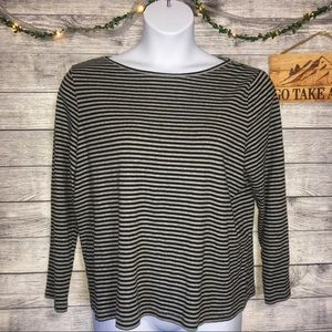Talbots Black and Gray Striped Long Sleeve Top